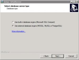 Specify Database Engine