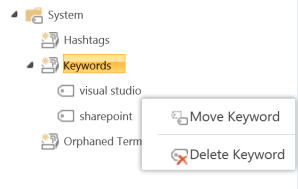 Admins can move keywords to adjust their formal taxonomies.