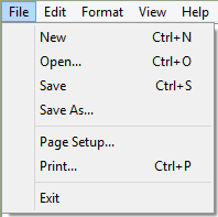 Notepad File Menu